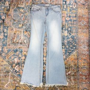 Free People Frayed Flare Jeans Bell Bottoms -28